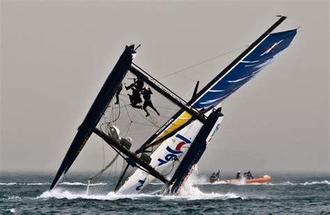extreme catamaran sailing racing extreme sailing series crash on day 3