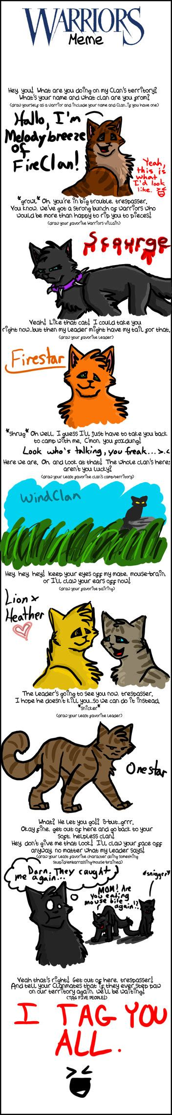 Warrior Cats Meme - warrior cats meme o3o by gingerflight on deviantart