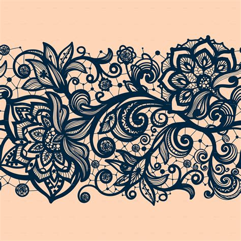 pattern is any decorative motif or design seamless lace pattern with decorative flowers by vikpit