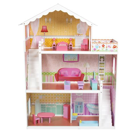 tall barbie doll house large children s wooden dollhouse fits barbie doll house pink with furniture ebay