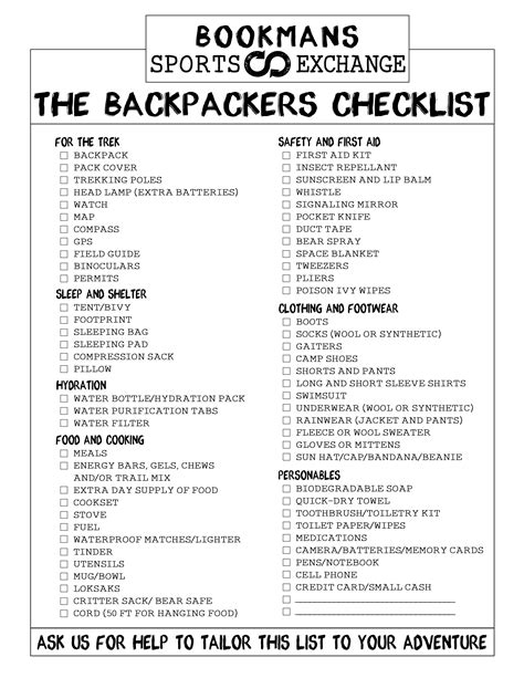 List Of Overnight by Backpacking Checklist Bookmans Sports Exchange