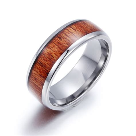wood pattern ring personalized minimalism wood grain pattern tungsten steel