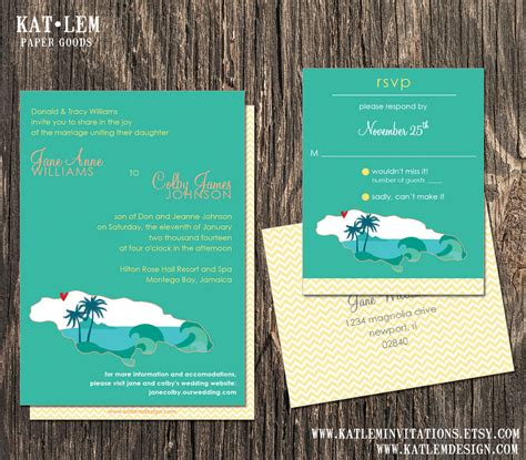 Wedding Invitations Jamaica by Jamaica Wedding Invitation Set Jamaica Destination Wedding