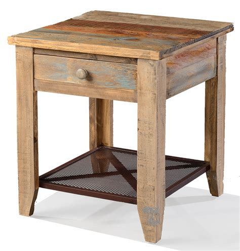rustic pine end table ifd pine rustic drawer and iron mesh shelf multi colord