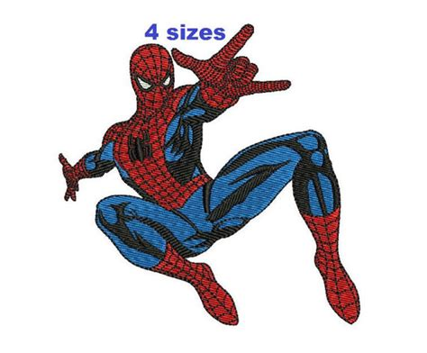 spiderman embroidery pattern spiderman filled embroidery pattern 4 sizes machine embroidery
