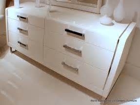 68 quot w contemporary dresser high gloss white wood stainless
