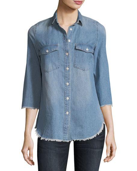 3 4 Sleeve Denim Shirt etienne marcel harleth 3 4 sleeve edge denim shirt