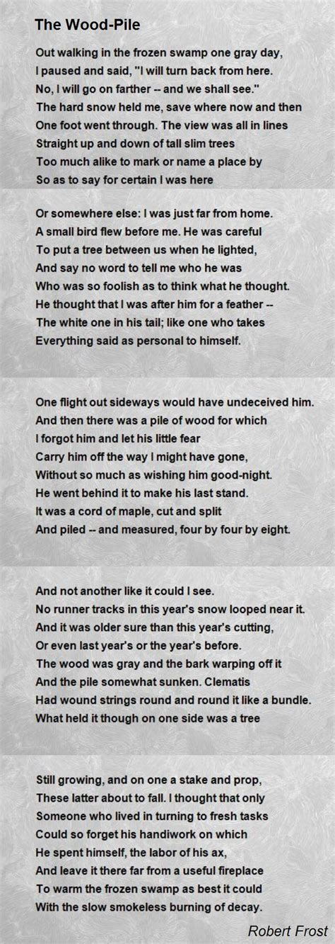 A Place Poem Douglas Wood The Wood Pile Poem By Robert Poem