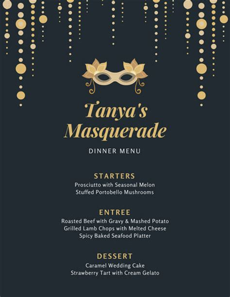 Gold And Black Ornate Dinner Menu Templates By Canva Black And Gold Menu Template