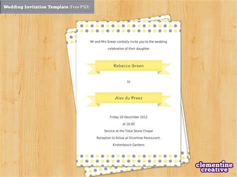 psd invitation templates free wedding invitation psd template by clementinecreative