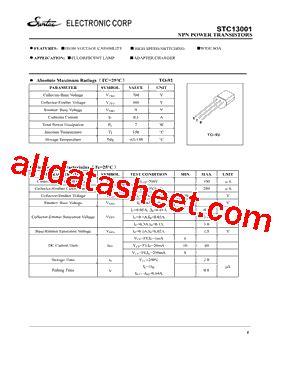 datasheet of transistor 13001 stc13001 datasheet pdf suntac electronic corp