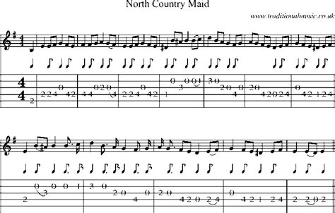 country music guitar pdf guitar tab and sheet music for north country maid