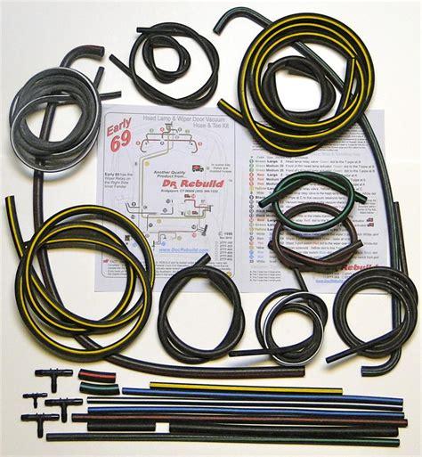 1969 corvette headlight wiper door vacuum hose kit 1969 corvette early molded headl wiper door vacuum hose kit