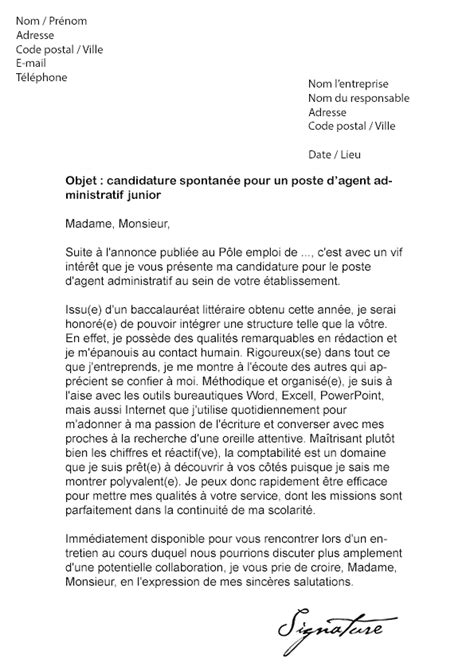 Exemple De Lettre De Motivation Pour Emploi Administratif Lettre De Motivation Administratif Sans Exp 233 Rience