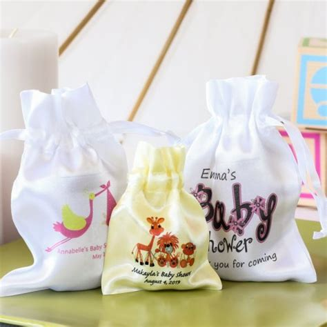 baby shower favor bags personalized satin drawstring baby shower favor bag