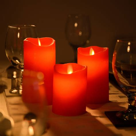 set of 3 red dancing flame led candles premier christmas
