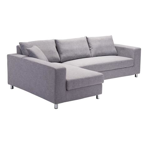 grey sleeper sofa zuo modern roxboro sleeper sectional sofa grey disc