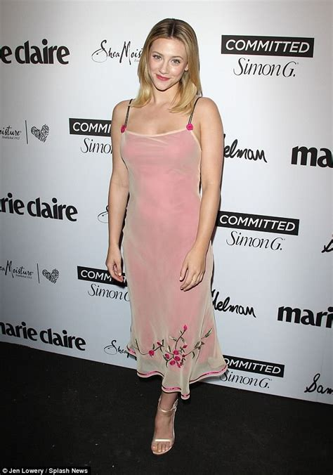 lili reinhart outfits riverdale star lili reinhart wears her mother s dress to l