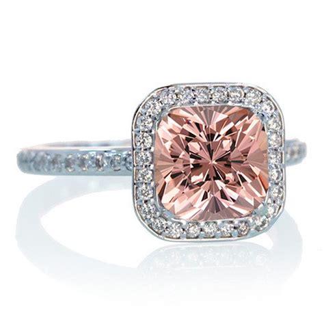 1.5 Carat Cushion Cut Classic Morganite and diamond Halo ... 1 Carat Cushion Cut Halo Engagement Ring
