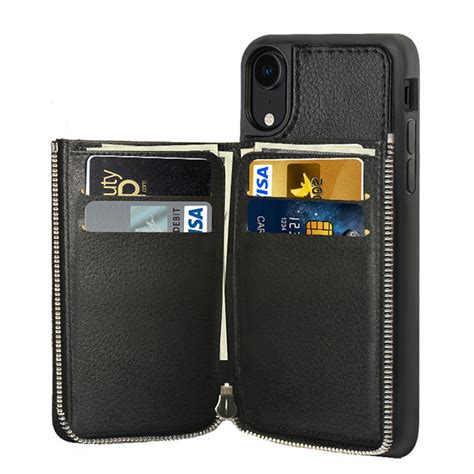 lameeku wallet for apple iphone xr 6 1 inch zipper leather purse with credit card