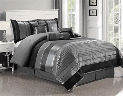 black and gray bed sets gray w black silver stripe comforter set king size 7