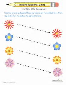 match the flowers trace the diagonal lines worksheet