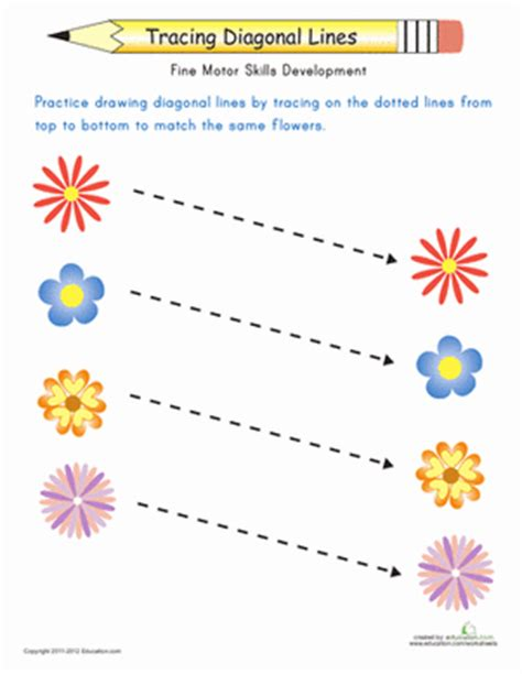 hopping pattern worksheet match the flowers trace the diagonal lines worksheet