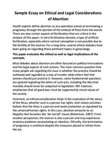 Abortion Essay Pro Choice by Pro Choice Essay Thesis