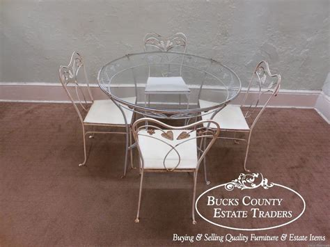 Wrought Iron Table Ls Vintage Wrought Iron Glass Top Patio Table Chair Dining Set Ebay