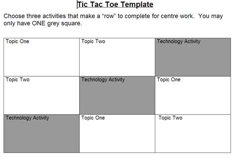 tic tac toe menu template div1 edtech in epsb technology as a part of a tic tac toe
