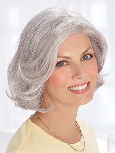 silver hair jaw length silver old women chin length wavy elegent human wigs grey wigs