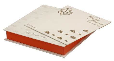 Wedding Box Cards India by Wedding Card Box With White Orange Golden Lotus Design