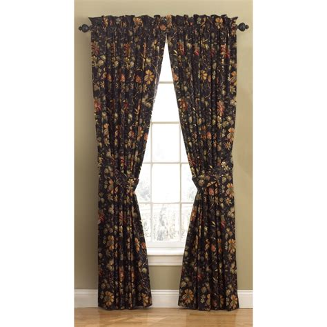 waverly floral curtains shop waverly felicite 84 in l floral noir back tab curtain