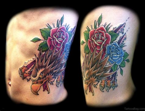 eagle tattoo with roses 47 brilliant rose tattoos designs on rib
