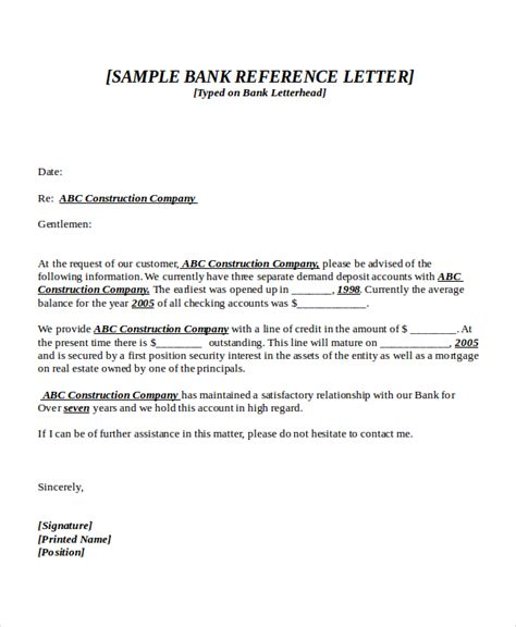 Bank Letter Of Reference 7 Bank Reference Letter Templates Free Sle Exle