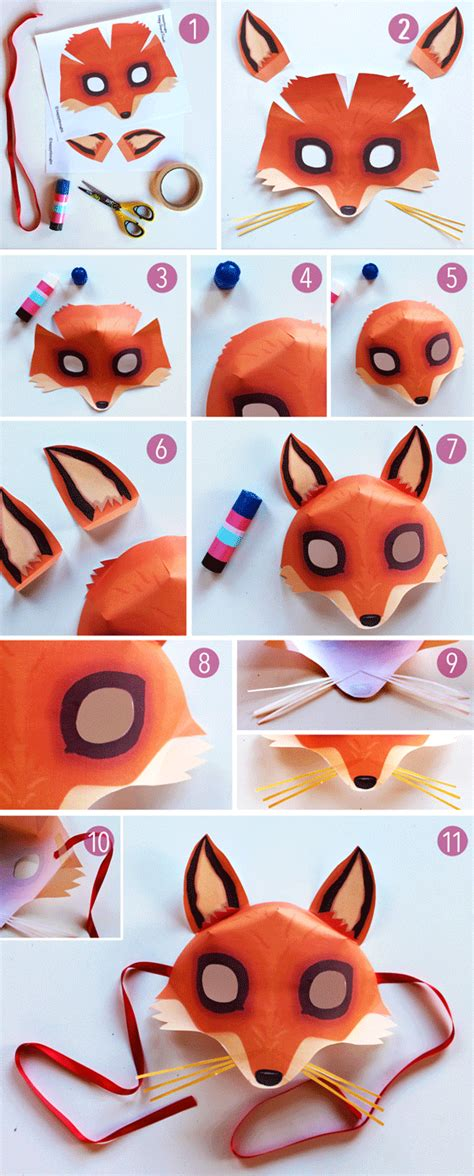 How To Make Paper Mask Step By Step - be a fox in 5 minutes try our free easy fox mask template