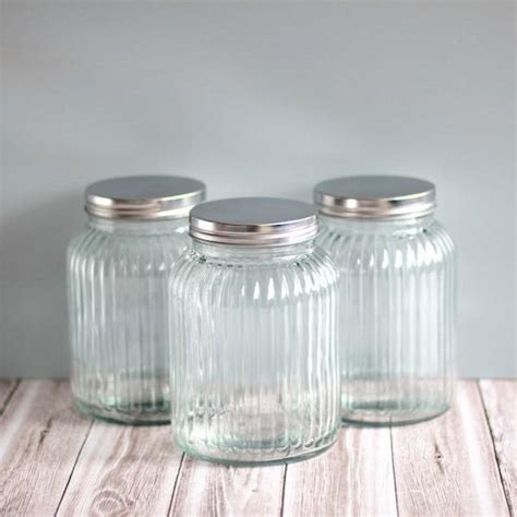 ribbed glass canisters glass pantry storage jars nz