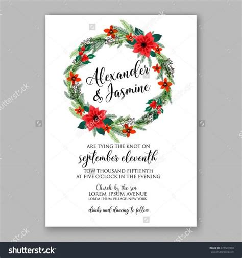 card wreath template poinsettia wedding invitation sle card beautiful winter