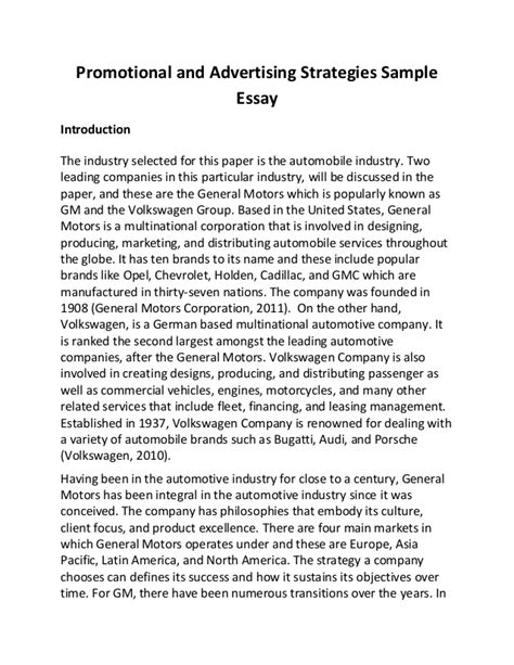 1920s Essay by Promotional And Advertising Strategies Sle Essay