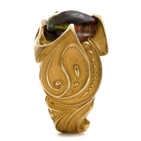 black opal mens ring custom men s black opal and yellow gold ring 100574