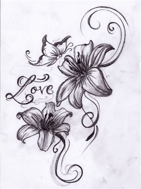 lilies and butterfly tattoo designs butterfly with flower designs tribal flower and