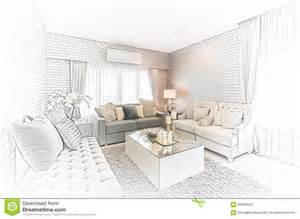 sketch design of modern living room with modern chair and