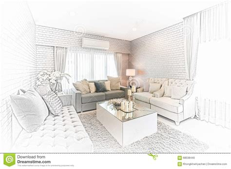 sketch room sketch design of modern living room with modern chair and