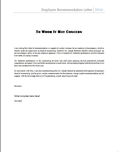 ms word employee recommendation letter template word