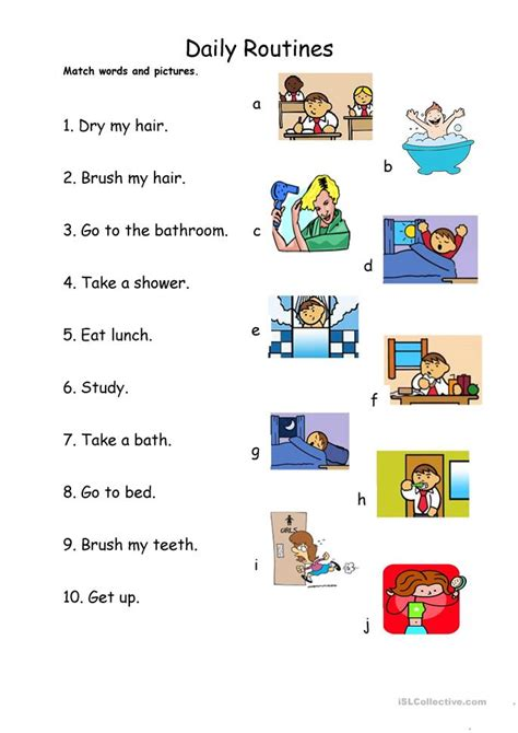 lesson plan for teaching how to blowdry hair daily routines 1 match worksheet free esl printable