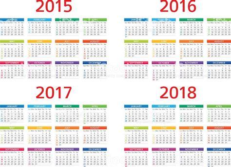 Calendario 2018 Inglaterra Calendar 2015 2016 2017 208 Illustration Stock Vector