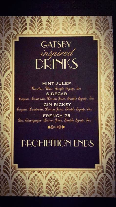 great gatsby dinner menu customised drinks menu great gatsby