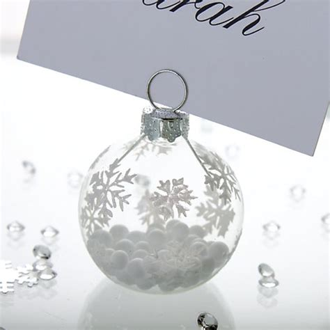 christmas baubles name holders winter snowflake bauble place card holder