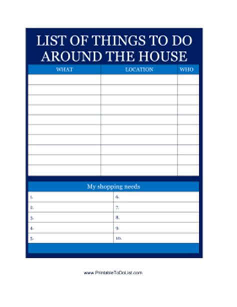 jobs to do list printable list of things to do around the house
