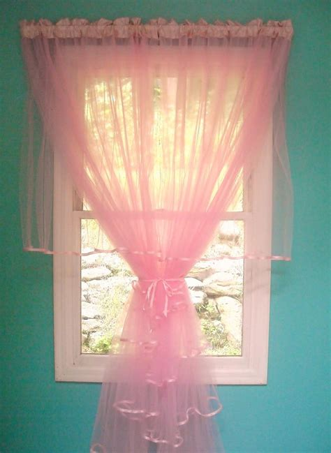 pink tulle curtains pink tulle ruffled curtains by paulaanderika on etsy